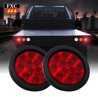 """2X 4"""" Round Stop/Turn/Tail Brake Sealed Truck Trailer LED Lights Rubber Mount"""