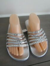 Rouge Helium Womens Footbed Sandals Silver Rhinestone Open Toe Slip On Size 9
