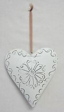 French Provincial Cream Metal Hanging Heart Mobile Decoration With Swirl BR713LW