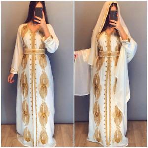 Dubai Moroccan Kaftan Caftan Abaya Maxi Arabic Islamic Wedding Gown Jilbab Dress