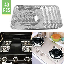 40Pcs Aluminum Foil Square Gas Burner Disposable Bib Liners Stove Covers Durable