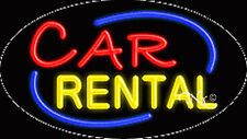 "New ""Car Rental"" 30x17x3 Oval Solid/Flash Real Neon Sign w/Custom Options 14503"