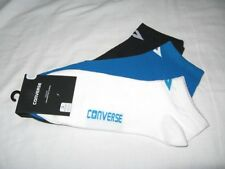 BNWT - CONVERSE  Mens Low Cut Trainer Socks  -  3 Pairs   Navy Blue White Blue