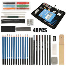 48Pcs/Set Drawing Artist Kit Set Pencils and Sketch Charcoal Graphite Art & Bag