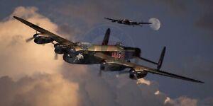 "WWII WW2 RAF RAAF RCAF Avro Lancaster Bomber Aviation Art Photo Print -24"" X 12"""