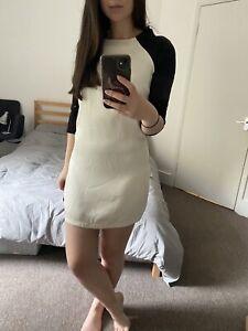 Topshop Baseball Style Dress 60s Mini Dress Size 6 8 Black White