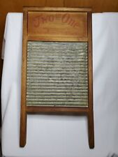 """TWO in ONE Primitive ANTIQUE Vintage 12x24"""" Wood Tin Hand WASHBOARD Raleigh NC"""