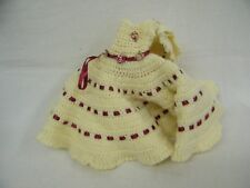 Vintage Hand Crotchet Yellow/Red Hat & Doll Dress