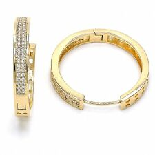 BEAUTIFUL HOOP EARRINGS CZ STONES 18K GOLD OVER STERLING SILVER!!!