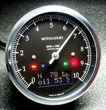 MOTOGADGET Motoscope ChronoClassic Tach Speedo Black Dark Polish Bezel 8,10, 14K