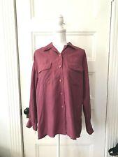 Vtg Bogari Women's Silk Button Front Short Sleeve Shirt M Burgundy Oversized