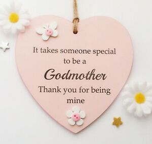 It takes someone special to be a Godmother handmade wooden heart gift plaque