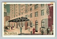 Hotel Woodstock, Entrance, Town Hall, Bus Depot, Chrome New York City Postcard