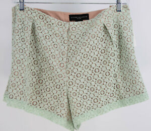 NEW Victoria Beckham Target Mint Green Lace Eyelet Shorts Lined 22W