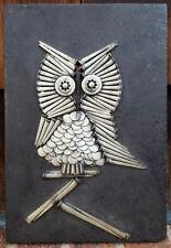 "Owl Square Nail Sculpture Art-Antique Iron-Blacksmith-11.5 x 7.5""-Metal Wood-vtg"
