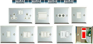 Volex Polished Chrome 1G/2G/Spur Fused Light Switch Double Socket White Inserts