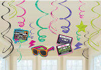 12 x 80s Neon Bright Disco Party Swirls 1980s Party Hanging Birthday Decorations