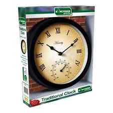 TRADITIONAL WALL MOUNTED OUTDOOR GARDEN & PATIO METAL CLOCK & THERMOMETER GCT10