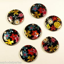 "6 perles rondes et plates ""shell beads"" peintes motif fleurs 30x30x0,3 mm"