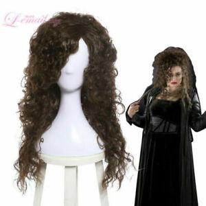 HP Bellatrix Lestrange Bella Cosplay Wig Long Dark Brown Curly Wavy Halloween