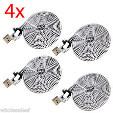 4x 6Ft White Flat Micro USB Charger Cable Nylon Braided Sync for android phone