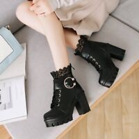 Women's Lace Ankle Boots  Round Toe Platform High Heels Lace Up Buckle Shoes