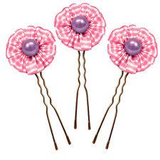 lot 3 épingles pics cheveux chignon mariage mariée fleur rétro rose perle violet