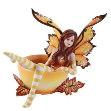 Amy Brown  Autumn Fall Leaves Tea Cup Fairy Faery Collection Statue Figurine