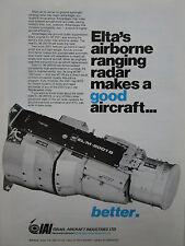 2/1981 PUB IAI ELTA AIRBORNE RANGING RADAR AIR TO AIR AIR TO GROUND ORIGINAL AD