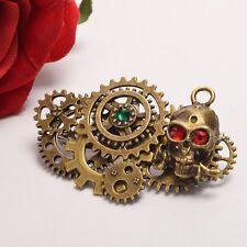 Vintage Steampunk Gear Skull Breast Pin Gothic Crystal Skull Brooch Breastpin