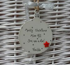 PERSONALISED  TEACHER CHRISTMAS BAUBLE DECORATION SILVER  8cm