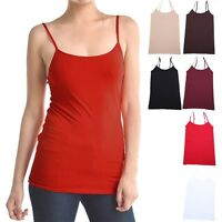 Seamless Basic Solid Adjustable Spaghetti Strap Camisole Tank Top ONE SIZE