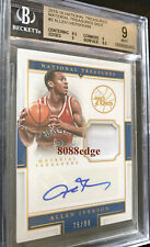 2015-16 NATIONAL TREASURES SWATCH AUTO: ALLEN IVERSON #75/99 AUTOGRAPH BGS 9