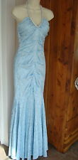Blondie Nites sz 1 Ice Light Blue Damask Rhinestone Halter Mermaid Dress Gown