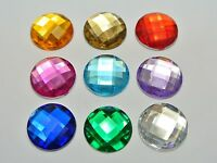 50 Mixed Color Acrylic Flatback Rhinestone Round Gem Beads 20mm No Hole