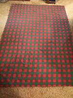 """Vintage Tag Textiles 100% Cotton Tablecloth Red & Green Check 74"""" x 63"""""""