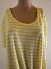 Umgee Women's Blouse Top White Yellow Striped NWT Size Medium Waist Tie