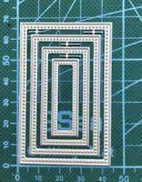 Brand New 4 Stitched Edge Nesting Rectangle Framelit Metal Die Cutter Uk Seller