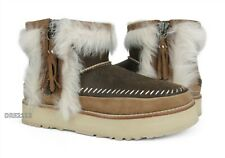 UGG Fluff Punk Boot Chestnut Suede Leather Fur Boots Womens Size 8 *NIB*