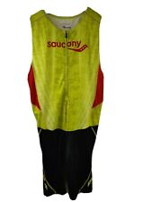Saucony Men's Elite TRI Triathlon Suit L Cycling Zip Tank Bib Shorts Run Bike