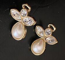 Rhinestones Faux Pearl Pierced Earrings Avon Gold Tone Angel Clear