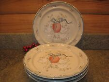 4 International China Co. Stoneware Dinner Plates In The Marmalade #8868 Pattern
