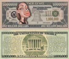 Angelina Jolie Caricature Million Dollar Tract Funny Money Novelty Note + SLEEVE