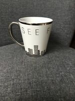 One World Trade Center Observatory Silver And White Coffee Mug