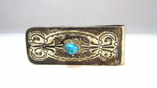 SILVER TONE ETCHED / ENGRAVED SOUTHWESTERN TURQUOISE MONEY CLIP *