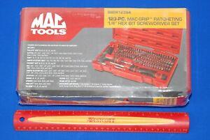 "NEW SEALED MAC TOOLS 123 PIECE 1/4"" Hex Drive Mac-Grip Ratcheting Bit Driver Set"