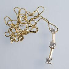 "14k Solid Yellow Gold Past Present Future .5ct Diamond Pendant w/ 14k 18"" chain"