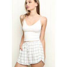 brandy melville white high waisted plaid eve shorts with draw strings NWT sz S/M