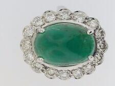 Large Cabochon Colombian Emerald (9 cts)+Diamonds~Lady's Vintage 14K Ring~Estate