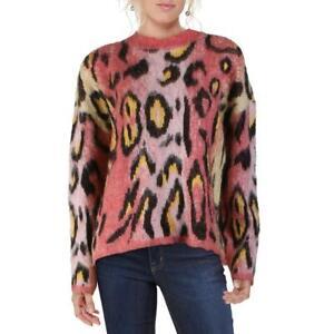 Aqua Womens Wool Blend Animal Print Pullover Crewneck Sweater Top BHFO 8611